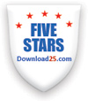 5 stars award on www.download25.com